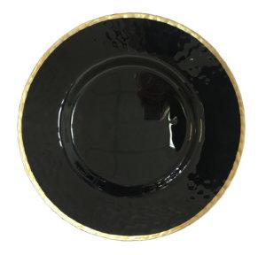 Тарелка черная с золотом